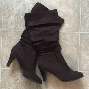 Shoes - Mid calf suede brown boots